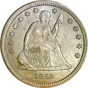 1862 S 25C MS obverse