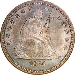 1864 S 25C MS obverse