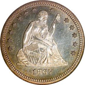 1867 25C MS obverse