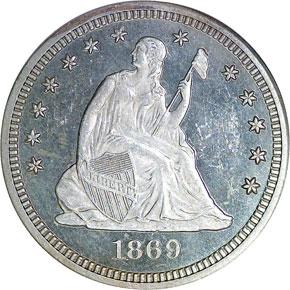 1869 25C MS obverse