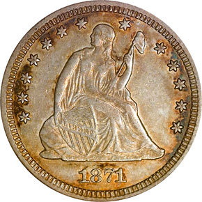 1871 CC 25C MS obverse