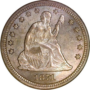 1871 S 25C MS obverse