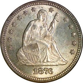 1876 25C MS obverse