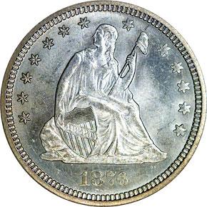 1876 CC 25C MS obverse