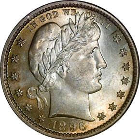 1896 25C MS obverse