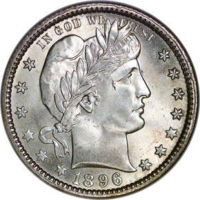 1896 O 25C MS obverse