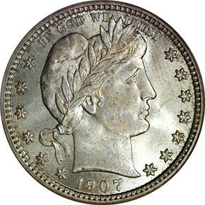 1907 25C MS obverse