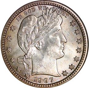 1907 D 25C MS obverse