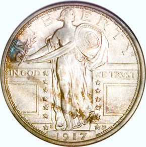 1917 S TYPE 1 25C MS obverse