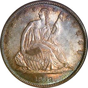 1839 DRAPERY 50C MS obverse