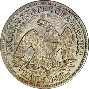 1853 O ARR & RAYS 50C MS reverse