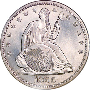 1866 S MOTTO 50C MS obverse