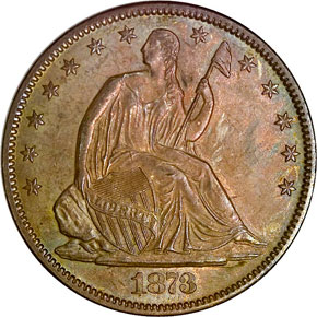 1873 CL 3 NO ARROWS 50C MS obverse