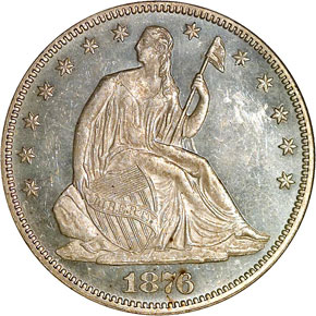 1876 50C MS obverse