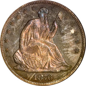 1876 50C PF obverse
