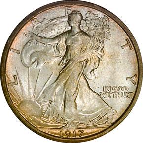 1917 S REVERSE 50C MS obverse