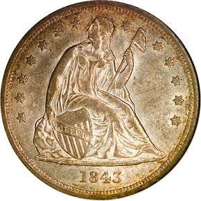 1843 S$1 MS obverse