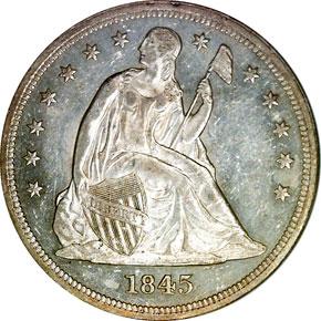 1845 S$1 MS obverse