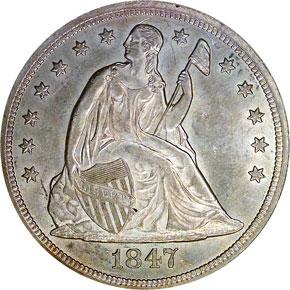 1847 S$1 MS obverse