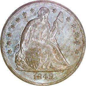 1849 S$1 MS obverse