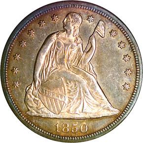1850 O S$1 MS obverse
