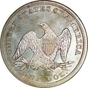 1857 S$1 MS reverse