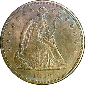 1859 S$1 MS obverse