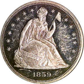 1859 S$1 PF obverse