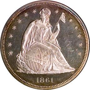 1861 S$1 PF obverse