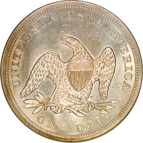 1862 S$1 MS reverse