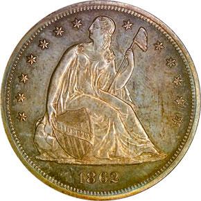 1862 S$1 PF obverse