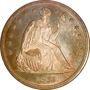 1863 S$1 MS obverse