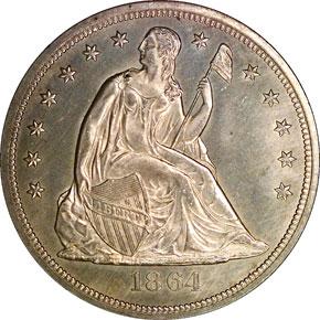 1864 S$1 MS obverse