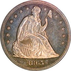 1865 S$1 MS obverse