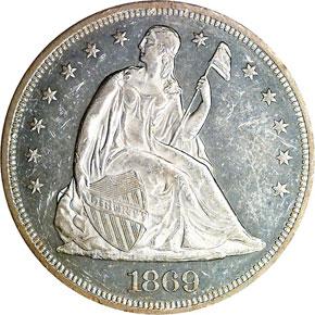 1869 S$1 MS obverse