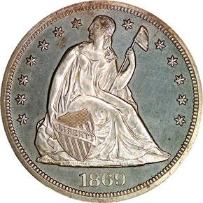 1869 S$1 PF obverse