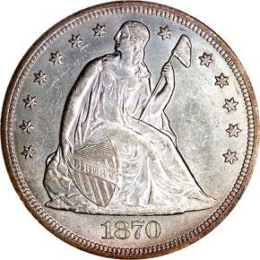 1870 S$1 MS obverse