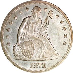 1872 S$1 MS obverse