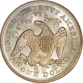1872 S$1 MS reverse