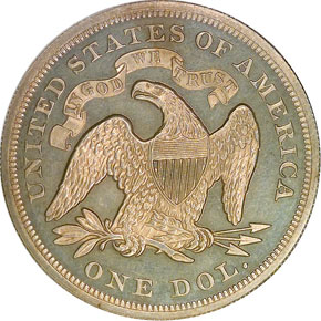 1872 S$1 PF reverse