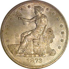 1873 CC T$1 MS obverse
