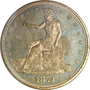 1874 T$1 MS obverse
