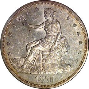 1875 CC T$1 MS obverse