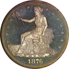 1876 T$1 PF obverse