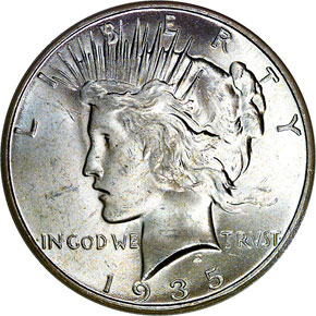 1935 S S$1 MS obverse