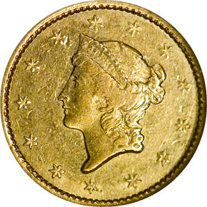 1849 C CLOSED WREATH G$1 MS obverse