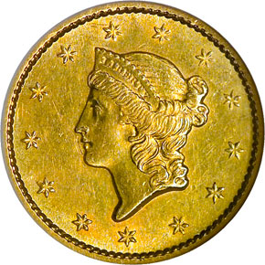 1854 S G$1 MS obverse