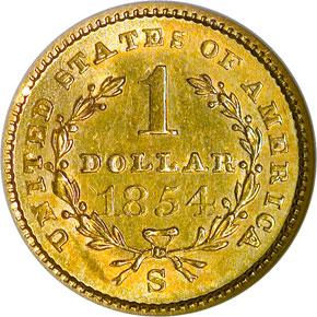 1854 S G$1 MS reverse