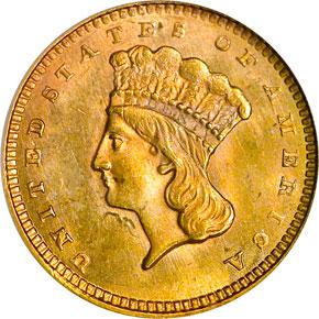 1856 SLANTED 5 G$1 MS obverse