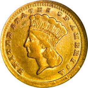1859 C G$1 MS obverse